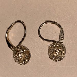 Sparkly Silver Tone Dangle Earrings